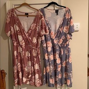 2 (3x) Tunic Tops with Flower Design